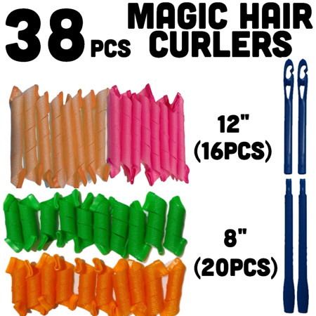 Magic Hair Curlers Spiral Curl Set of 36 curlers with 2 Hooks ()