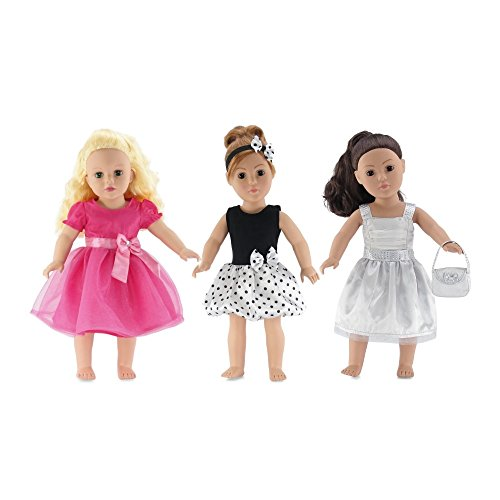 18-inch Doll Clothes | Value Bundle- Set of 3 Doll Dresses, Including Pink Dress with Jeweled Bow, Black and White Polka Dot Dress with Headband, and Silver Dress with Purse | Fits American Girl Dolls
