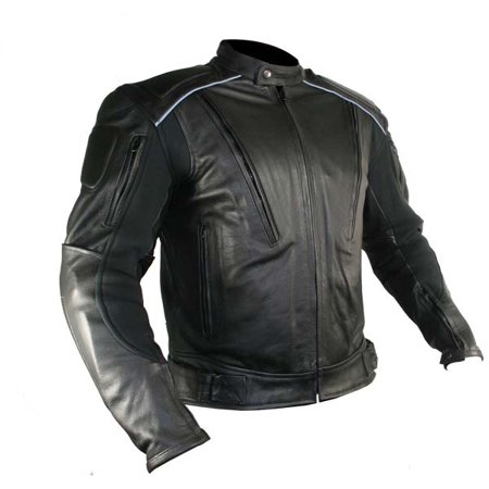Xelement B9119 Mens Black Armored Leather Motorcycle (Leather Body Armor)