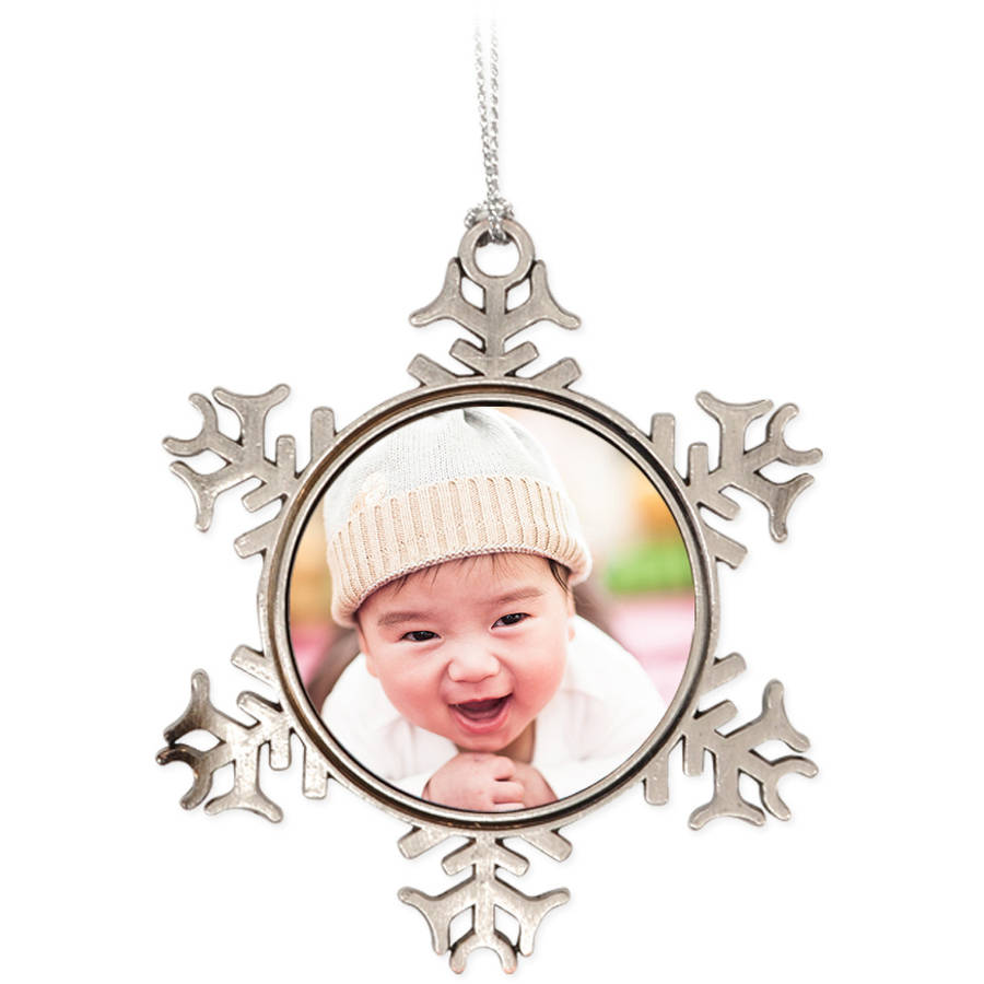 Metal Snowflake Photo Ornament