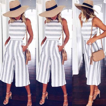 Iuhan Women Sleeveless Striped Jumpsuit Casual Clubwear Wide Leg Pants Outfit - Clearance Clubwear