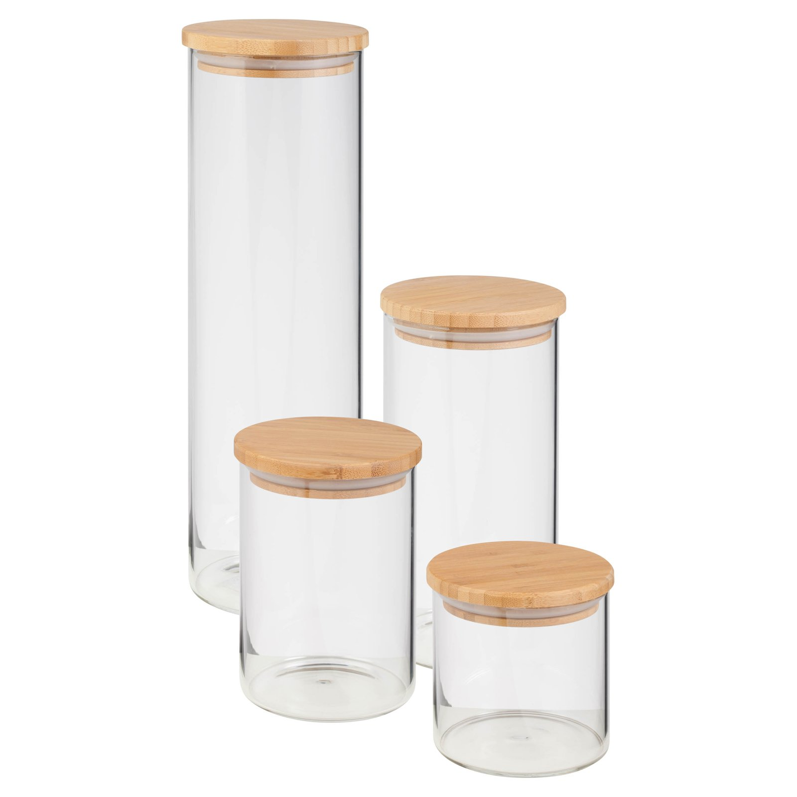 Honey Can Do Glass Dry Food Storage Jars with Bamboo Lid, (4-Piece Set) by Honey Can Do
