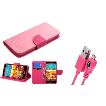 Insten Flip Leather Wallet Case W Stand Card Slot For Lg Magna Volt 2   Pink Hot Pink   Usb Data Charging Cable