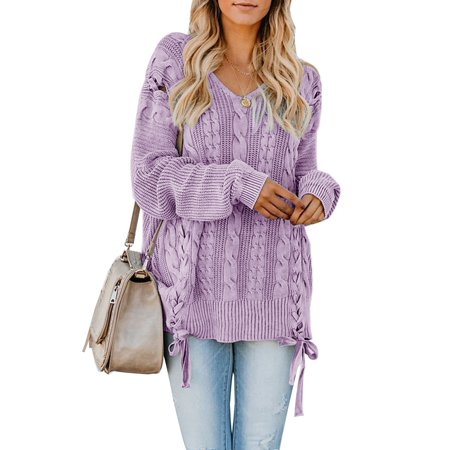 V-Neck Lace Up Knit Sweater Women Autumn Winter Casual Pullovers Lace Silk Sweater