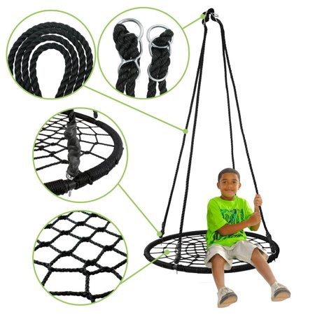 "Zeny 40"" Web Swing Playground Tree Outdoor Hanging Play Slide Seat PE Net Rope"