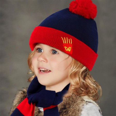 Vbiger Kids 3-Pieces Knit Hat + Scarf + Gloves Set Winter Warm Set for Boys Girls,Navy - Michael Jackson Hat And Glove For Kids
