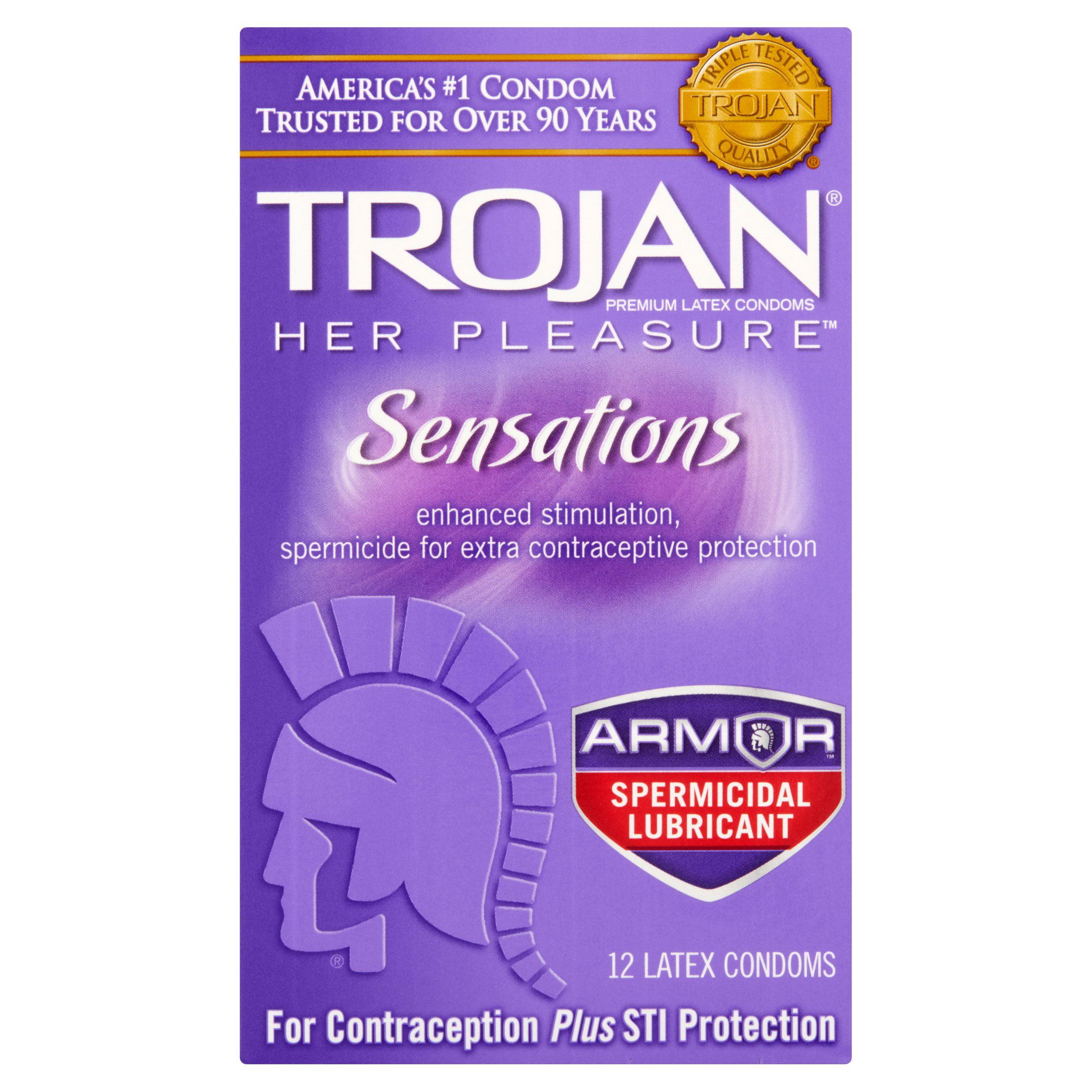 Trojan Her Pleasure Sensations With Spermacide Lubricated Latex Condoms - 12 ct