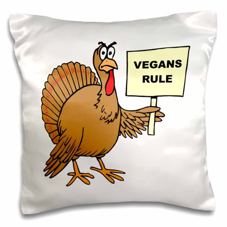 3dRose Vegans Rule Vegan Gifts Ideas Vegan Humor Funny Thanksgiving Turkey - Pillow Case, 16 by - Classroom Door Ideas For Thanksgiving