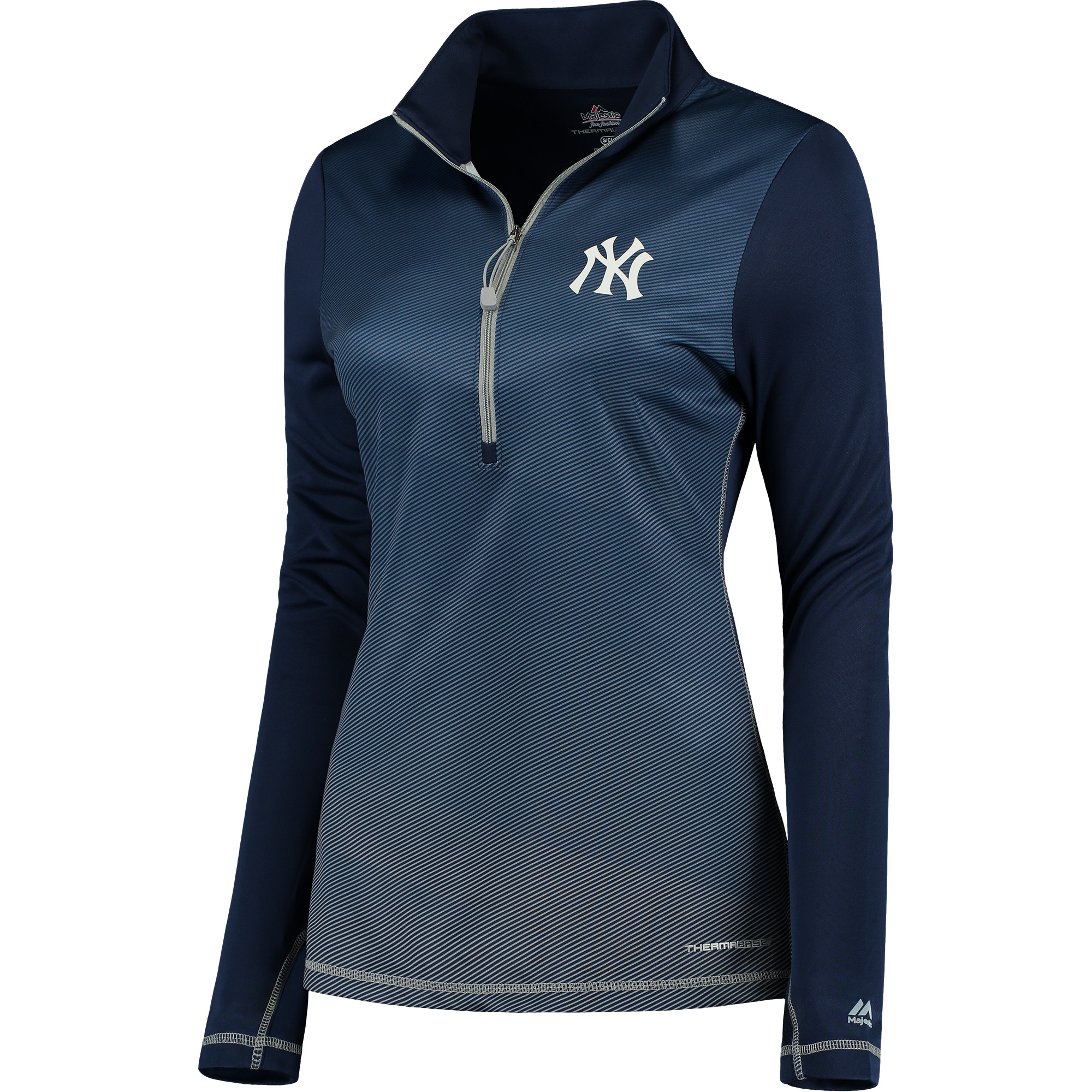 Women's Majestic Navy Gray New York Yankees Believe and Succeed Therma Base Half-Zip Jacket by MAJESTIC LSG