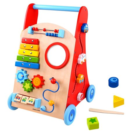 Pidoko Kids Baby Walker Cart Red Toddler Push Toys For Boys And