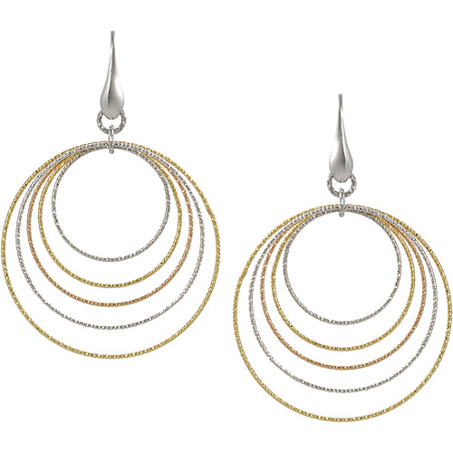 Brinley Co. Sterling Silver Tricolor Multiple Circle Dangle Earrings