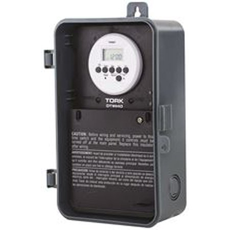 Tork Digital Water Heater Time Switch With Push Button, Double Pole, 240 Volt, 40 Amp