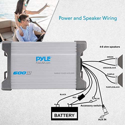 New Pyle PLMRMP2A 2 Ch 600W Waterproof MP3 Aux Input Marine Power Amp Amplifier