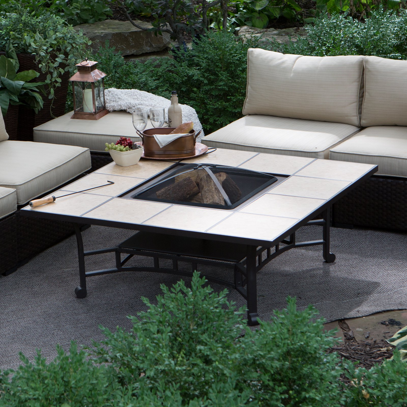 Red Ember Wheatland 50 in Outdoor Square Tile Convertible Fire