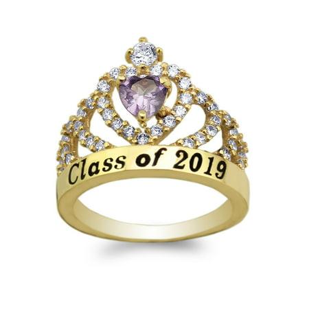 JamesJenny Yellow Gold Plated School Class of 2019 Graduation Purple 0.5ct Heart CZ Ring Size 5-10