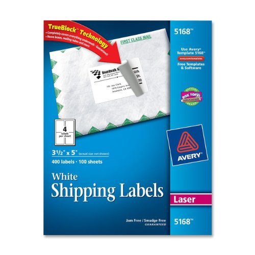 "Avery Easy Peel Address Label - 3.50"" Width X 5"" Length - 400 / Box - Rectangle - 4/sheet - Laser, Inkjet - White (5168)"
