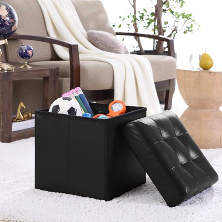 Ornavo Foldable Tufted Faux Leather Storage Ottoman Square