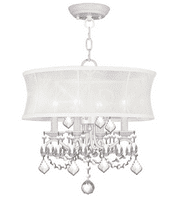 Pendants Porch 4 Light With Off White Silk Shimmer Shade White size 240 16 in Watts - World of Crystal