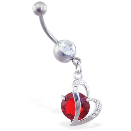 Belly Ring With Dangling Curved Heart And Large Red -