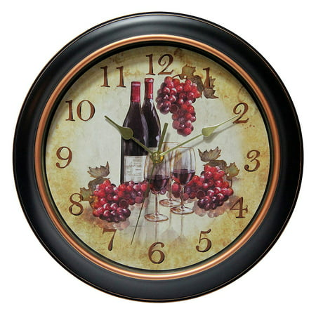 """Infinity Instruments Valencia 12"""" Silent Wine and Grapes Wall Clock"""