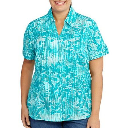 51d0ad7551202 White Stag - Women s Plus-Size Woven Button Down Shirt - Walmart.com