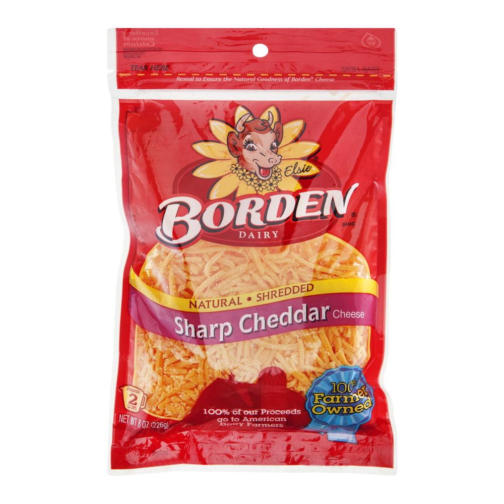 Borden Sharp Cheddar Cheese Shredded, 8.0 OZ