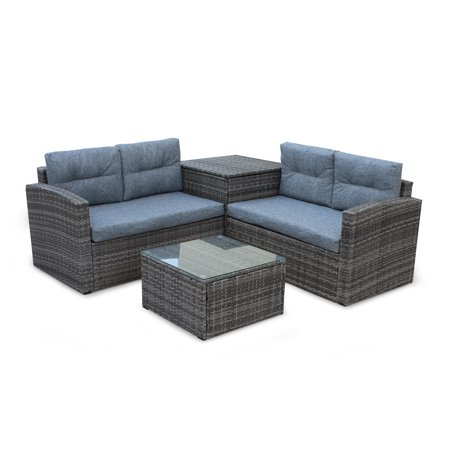 Patio Dining Set Seats 4, 4 Piece Outdoor Patio Furniture Set with Glass Table and Storage Cabinet, All-Weathe Rectangle Patio Sofa Furniture Set with Cushions for Backyard, Porch, Garden, Pool, L2185 ()