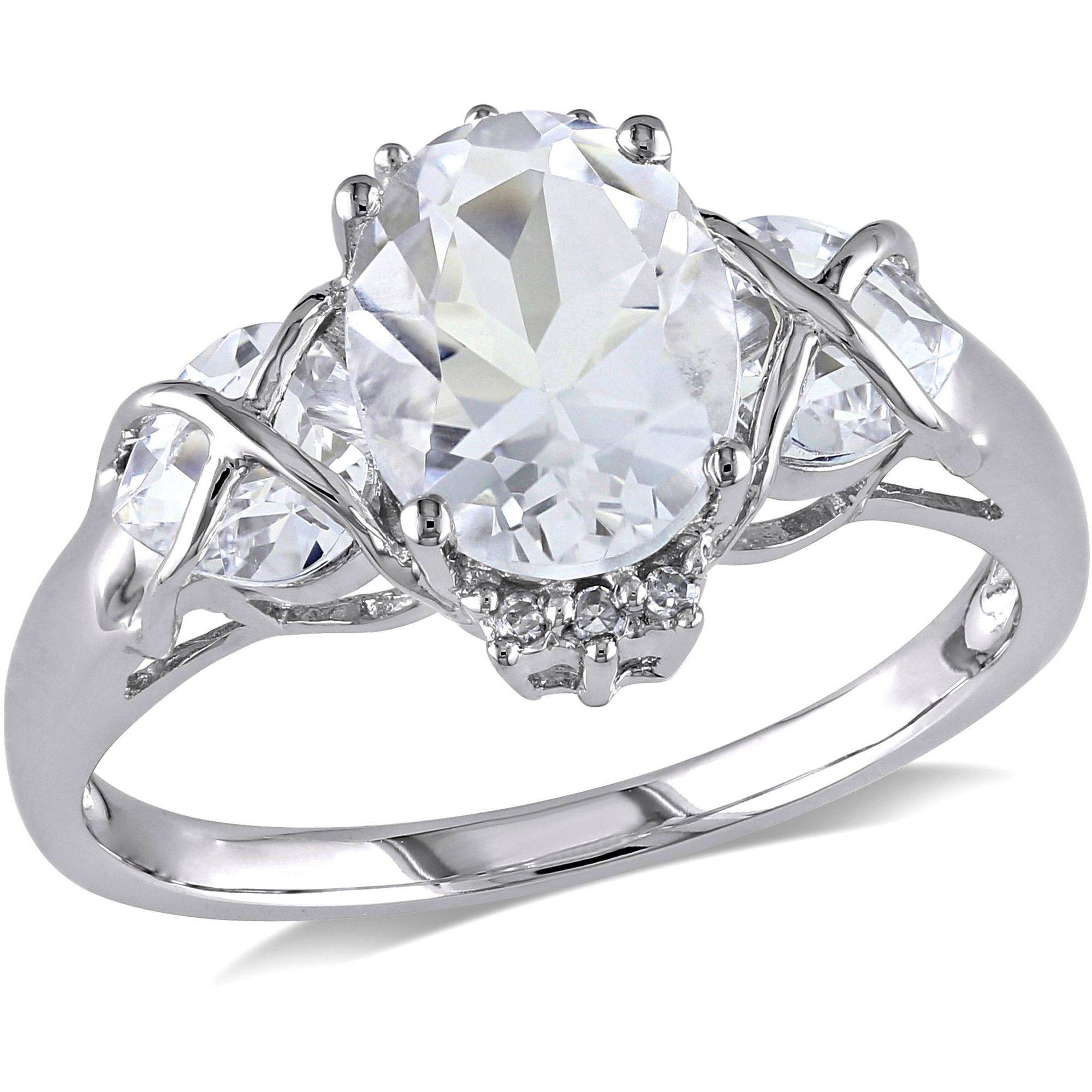 Miabella 3-1 3 Carat T.G.W. Oval- and Heart-Cut White Topaz and Diamond-Accent 10kt White Gold Three-Stone Engagement... by Miabella
