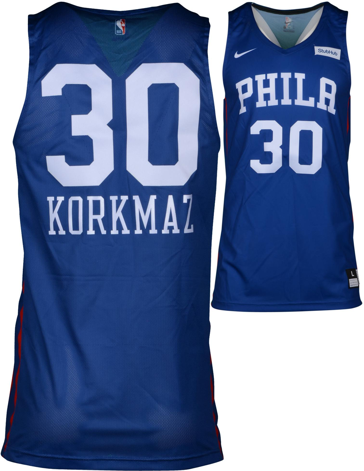 finest selection 691de 11f8f Furkan Korkmaz Philadelphia 76ers Game-Used #30 Blue Jersey from the 2018  Summer League - Size L+2 - Fanatics Authentic Certified