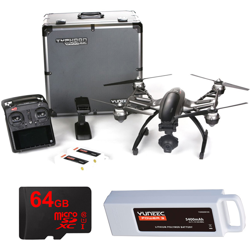 Yuneec Q500 4k Typhoon Quadcopter Drone 3-Axis Gimbal Camera, Steady Grip, Deluxe Case with 2 Batteries and 64GB Card