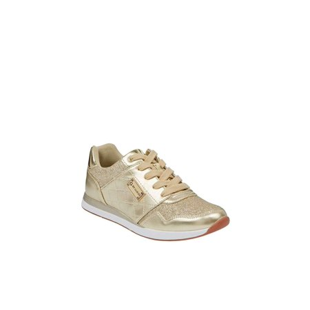 G By Guess Womens Jeryl3 Low Top Lace Up Fashion Sneakers, Gold, Size 6.5