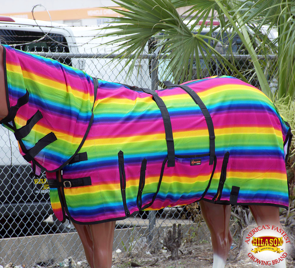 69'' HILASON UV PROTECT MESH BUG MOSQUITO HORSE FLY SHEET SUMMER SERAPE/RAINBOW