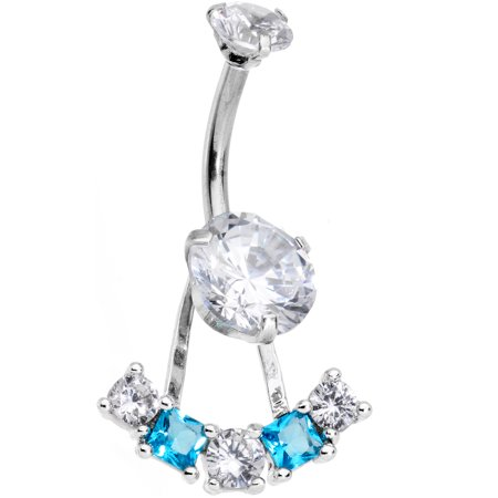 Body Candy Steel Clear Blue Accent Sassy Fashions Dangle Belly Ring