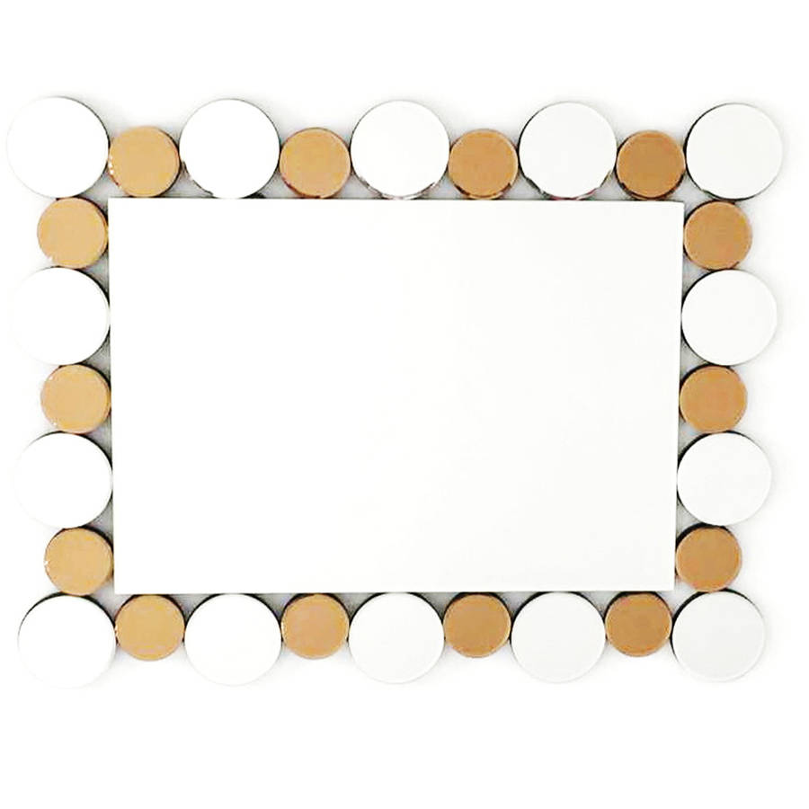 "Fab Glass and Mirror COINS IN THE FOUNTAIN MIRROR Decorative Rectangle Wall Mirror, 35.5""L x 27.5""W"