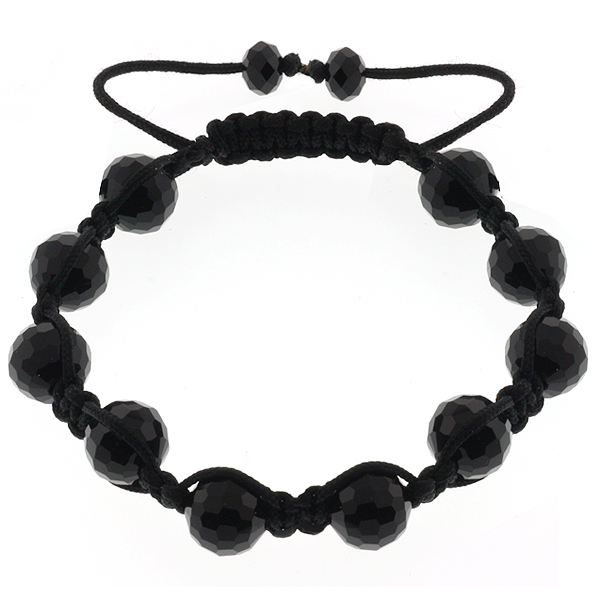 10mm Shiny All Black Ball Adjustable Bracelet