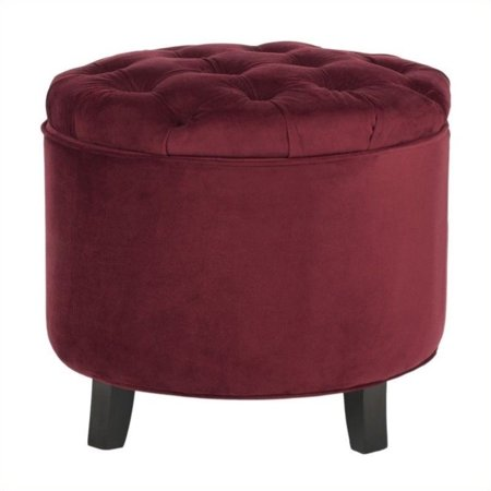 Magnificent Safavieh Amelia Oak Tufted Storage Ottoman In Red Walmart Evergreenethics Interior Chair Design Evergreenethicsorg