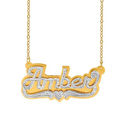 Personalized Sterling Silver or 14K Gold Plated Double Nameplate Necklace with Beading and Rhodium with an 18 inch Link Chain ()