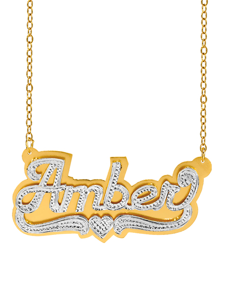 Personalized Sterling Silver or 14K Gold Plated Double Nameplate Necklace with Beading and Rhodium with an 18 inch Link Chain