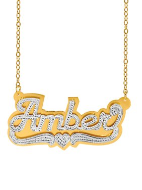 a8c1eb3973fb Product Image Personalized Sterling Silver or 14K Gold Plated Double  Nameplate Necklace with Beading and Rhodium with an