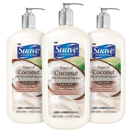 (3 Pack) Suave Essentials Tropical Coconut Body Lotion, 32 oz (Coconut Milk Body Lotion)