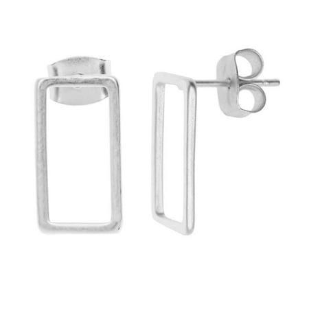Earnut Earring Posts (Earring Posts, Open Rectangle with Earnuts 8x15mm, 1 Pair, Matte Silver Toned )