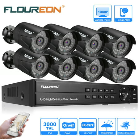 8 Channel Wireless Dvr (FLOUREON Wireless Home Security Camera System 1 X 8CH 1080P 1080N AHD DVR + 8 X Outdoor 3000TVL 1080P 2.0MP Camera Security Kit US)