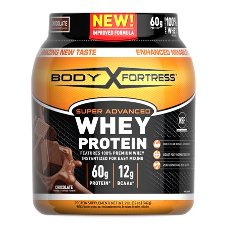 Body Fortress Super Advanced Whey Protein Powder, Chocolate, 60g Protein, 2lb,