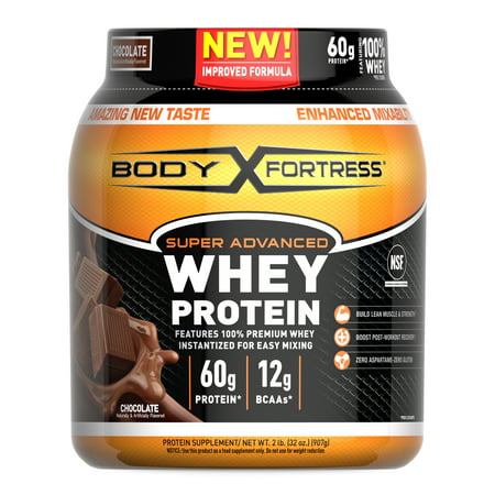 Body Fortress Super Advanced Whey Protein Powder, Chocolate, 60g Protein, 2lb, 32oz Peak Body Whey Protein