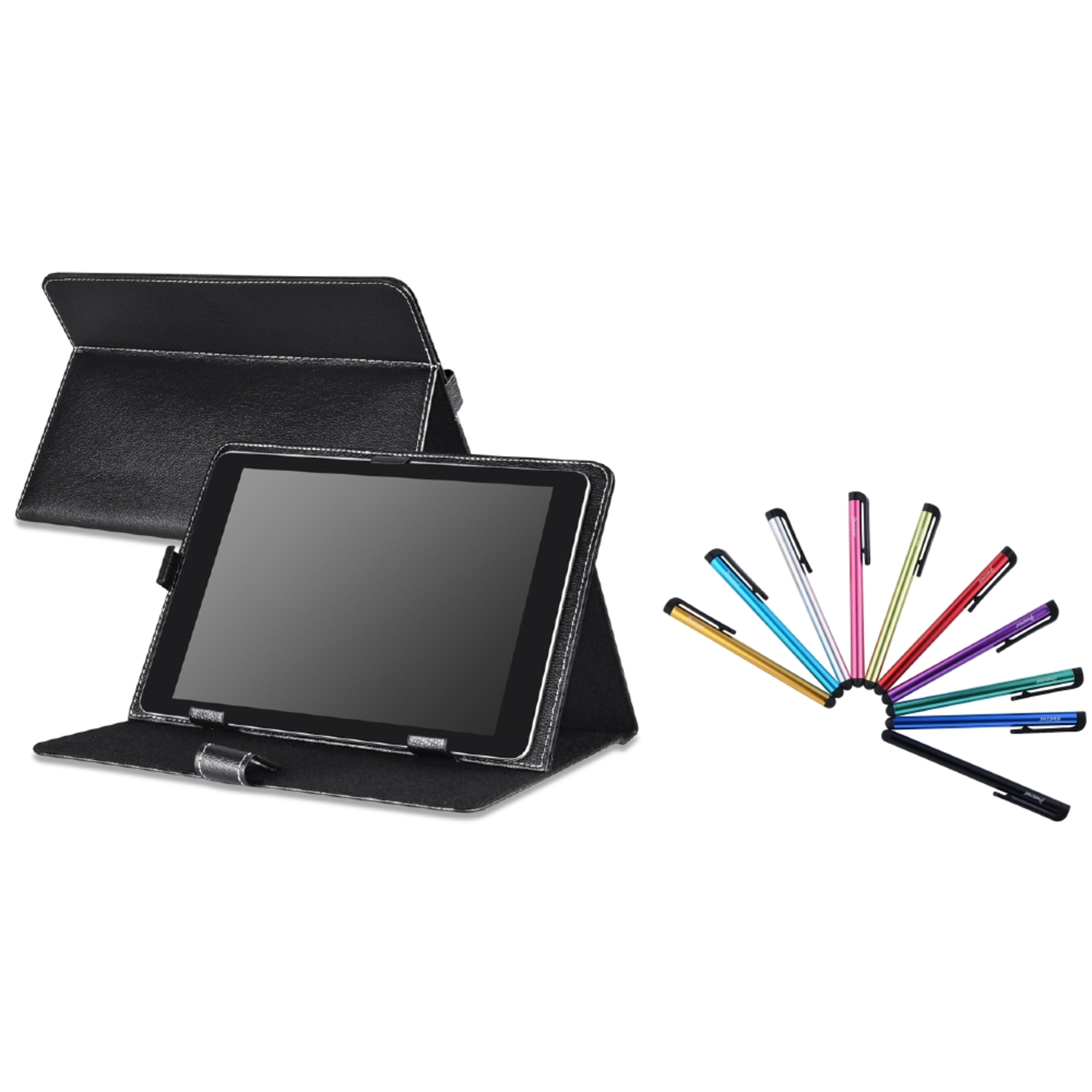Insten Black Leather Case Stand + 10-Piece Colorful Touch Stylus Pens For...