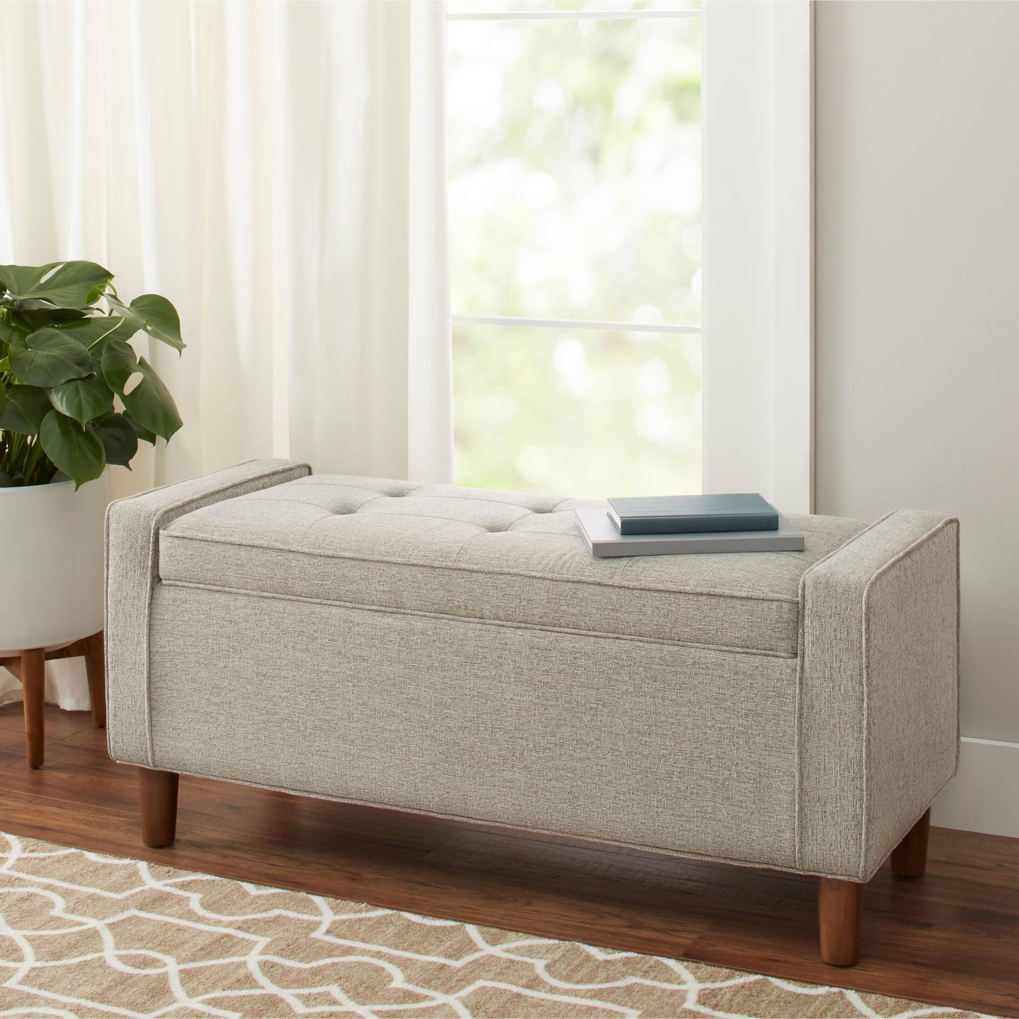 Better homes and gardens flynn mid century modern upholstered storage bench multiple colors walmart com