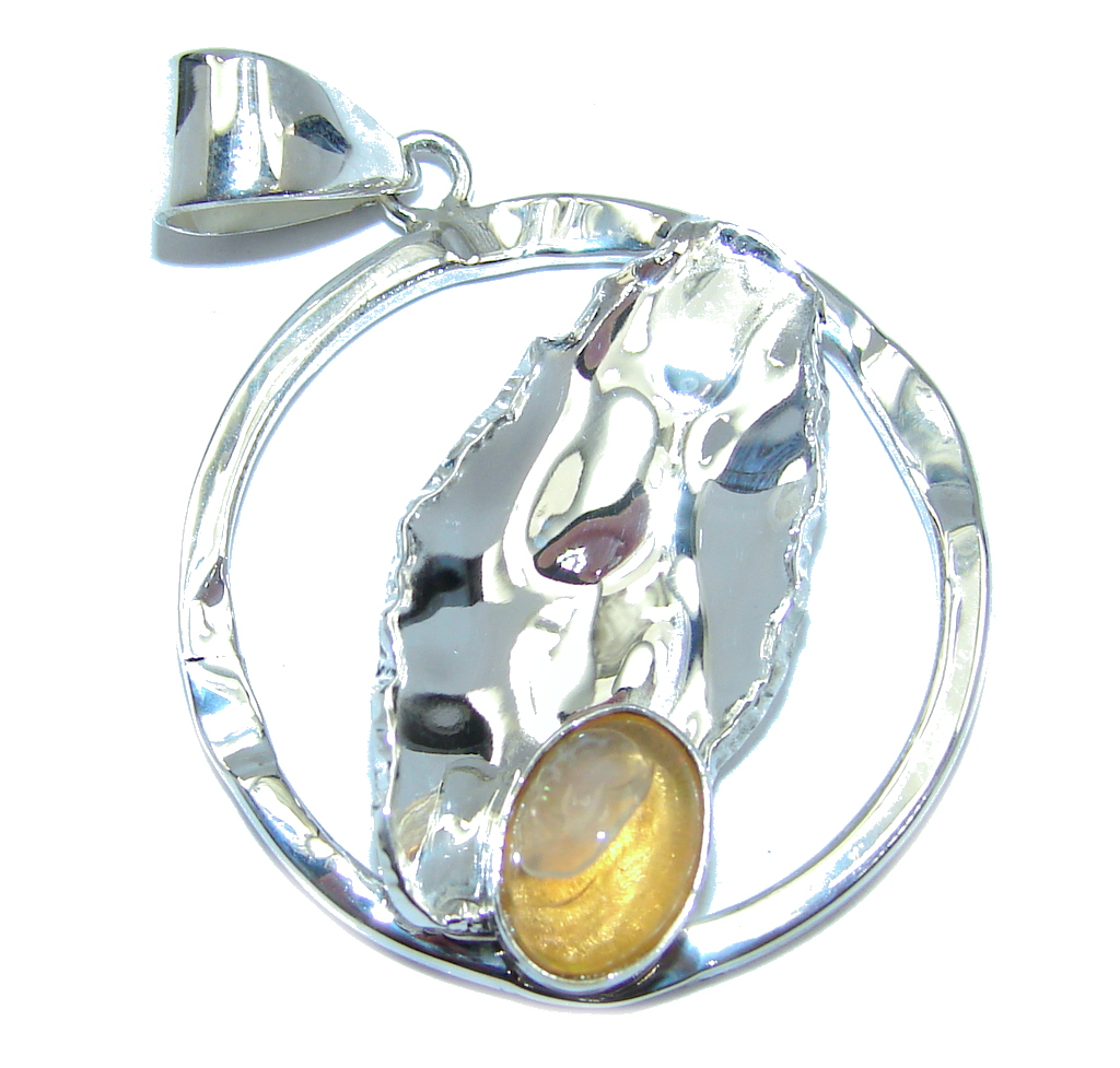 Secret Beauty Modern Mexican Fire Opal Sterling Silver Pe...