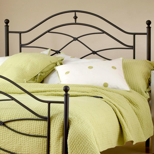 Hillsdale Furniture Cole Metal Headboard with Bedframe, King Size, Black Twinkle Finish