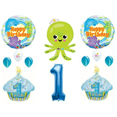 UNDER THE SEA Octopus Dolphin 1st Birthday Party Balloons Decoration Supplies Ocean](Dolphin Birthday Party)