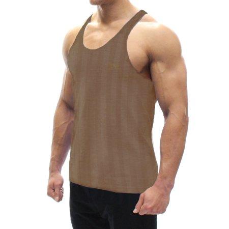 A Men's Tank Top Brown Stripes X-Large